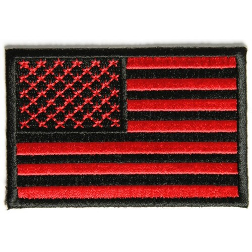 American Flag Velcro Patch, Black/Red (Brand: )