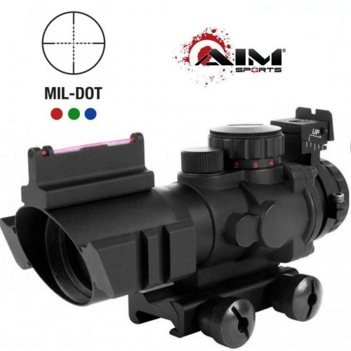 AIM Sports Tactical Railed 4x32 ACOG Style Blue/Green/Red Dot with Fiber Optic backup Iron Sights (Brand: )
