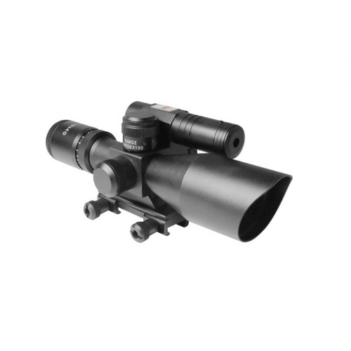 AIM Sports Titan 2.5-10x 40mm Scope with Red/Green Reticle, Green Laser, & Bullet Drop Compensator (Brand: )