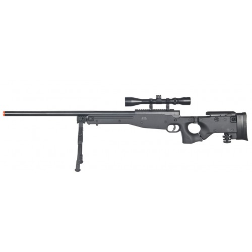 Well L96 AWP Black Bolt Action Sniper Rifle Kit with Folding Stock, Bipod, and 3-9x Scope (Brand: )