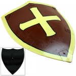 Dark Knight Crusader Medieval Heater Shield with Cross Brown & Yellow image