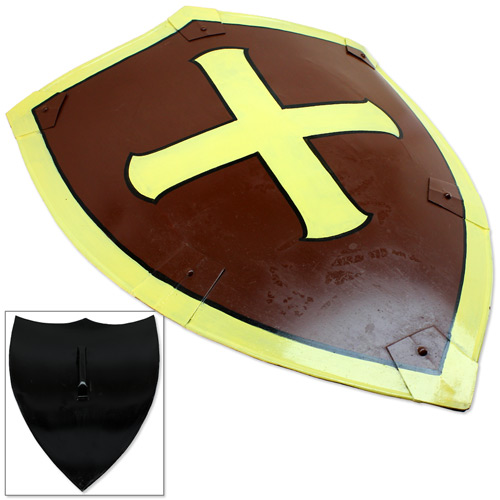 Dark Knight Crusader Medieval Heater Shield with Cross Brown & Yellow (Brand: )